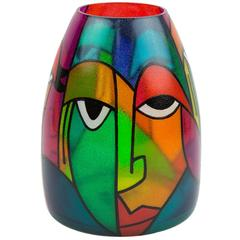 Exceptional Signed Picasso Style Abstract Art Glass Bullet Murano Vase