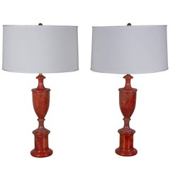 Pair of Red Alabaster Lamps