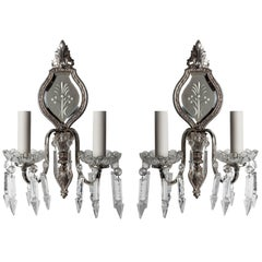 Silver Wheel-cut Mirrorback Sconces Dressed with Crystal Prisms, Circa 1930