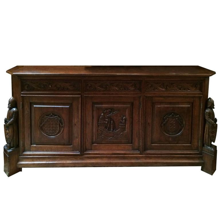 Antique french oak gothic style sideboard or credenza at for Sideboard vintage look