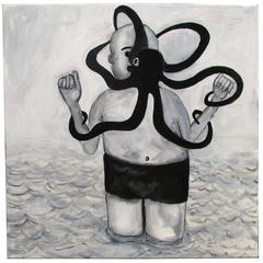 """Octopus"" Pop Art Cartoon Painting by Junior Martin"