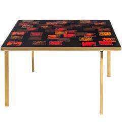 P. Törneman and Carl Bjørn for NK, Swedish Enamel and Brass Square Coffee Table