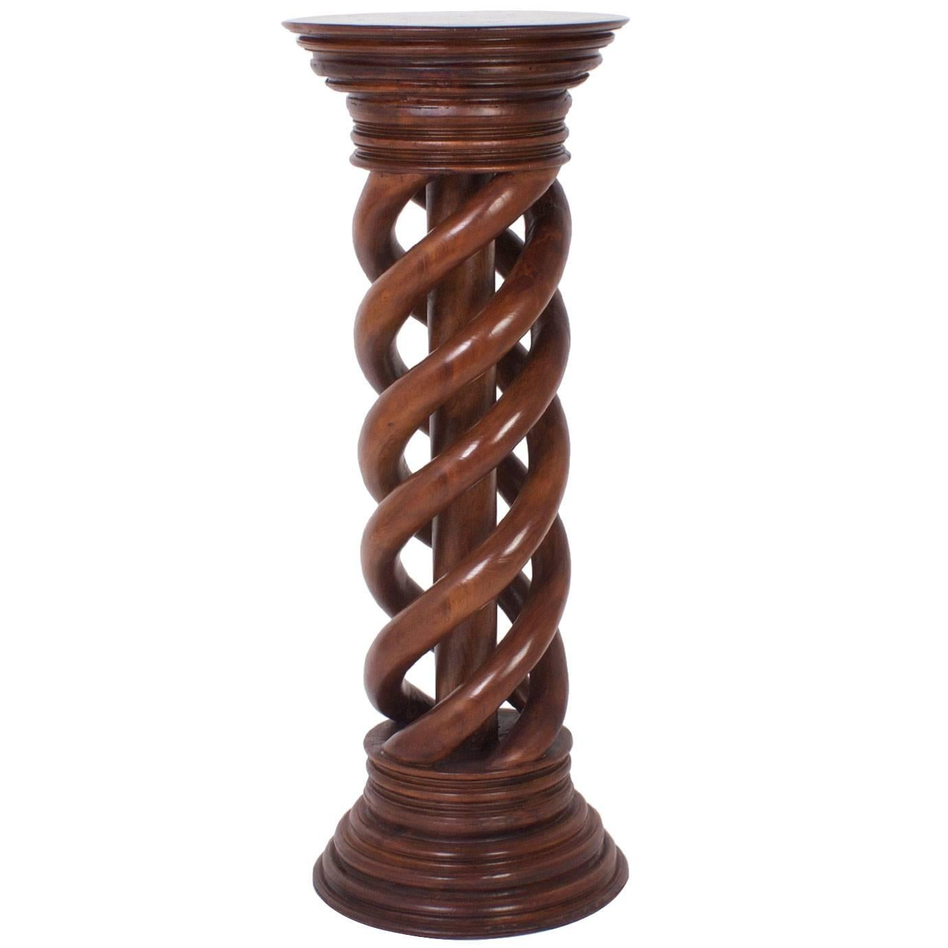 Antique 19th Century Large Spiral Carved Mahogany Pedestal
