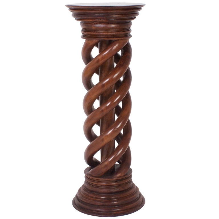 Antique 19th Century Large Spiral Carved Mahogany Pedestal For Sale