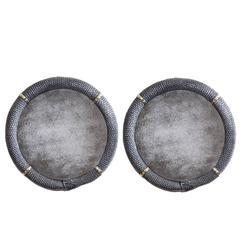 Pair of Polished Cast Iron Ouroboros Snake Mirrors