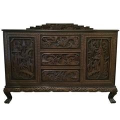 Antique Hand-Carved Chinese Sideboard