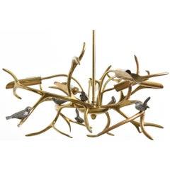 """Bronze """"Tree Sculpture, Six Birds"""" Chandelier by Willy Daro, Belgium, 1970"""