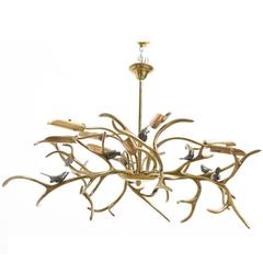 "Large Willy Daro Bronze Organic ""Tree Sculpture, Eight Birds"" Chandelier"