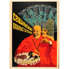 Original 1934 Leningrad Music Hall Theatre Poster for the Seducer of Seville