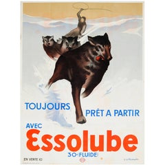 Original Vintage 1930s Advertising Poster Essolube Engine Oil - Husky Dog Sledge