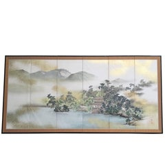 Japanese Fine Antique Gold Mist Mountainside Country  Silk Screen Signd Gyokujun
