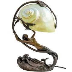 Lamp Gustav Gurschner Attributed Symbolistic Bronze with Iridescent Glass Shade