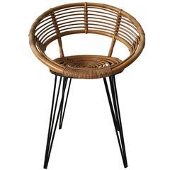 Cute Rattan Chair with Metal Hairpin Legs, circa 1950s-1960s