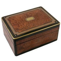 Large Napoleon III Decorative Box of Thuya, Rosewood, Ivory, Lacquer and Bronze