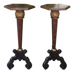 Fine Pair of 18th-19th Century Baroque Inlaid Continental Pedestals