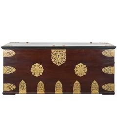 Indo-Dutch or Dutch Colonial Cuban Mahogany Brass Bound Chest
