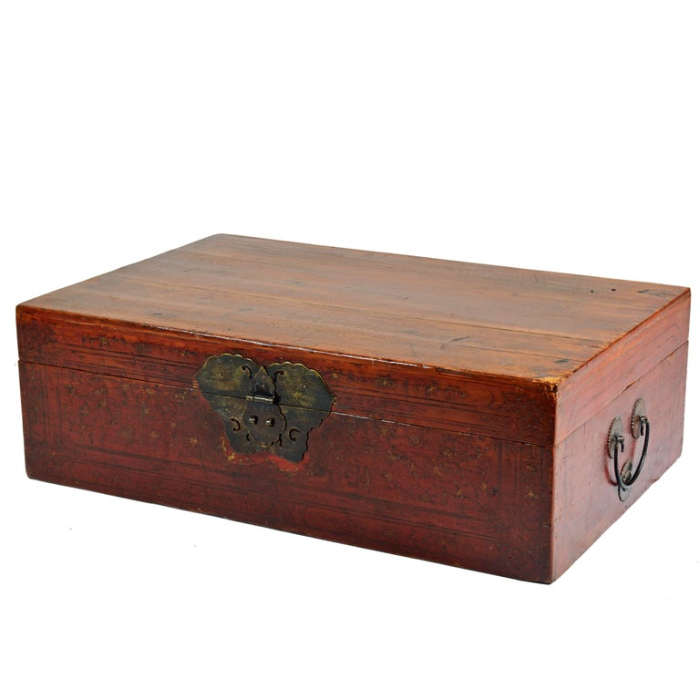 Large 19th Century Chinese Wood and Red Lacquer Storage Chest or Trunk For Sale
