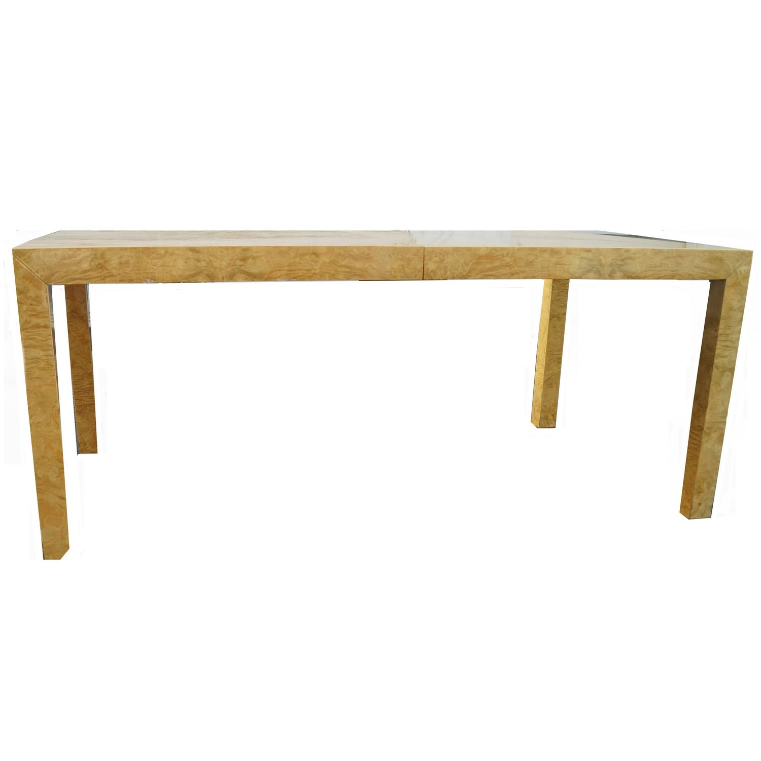 milo baughman burl wood dining table: extension table f