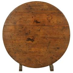 A French Wine Tasting Table with Medium Size, Round Shape  and Nice Patina