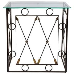French Iron Console Table with Glass Plate Top, circa 1950