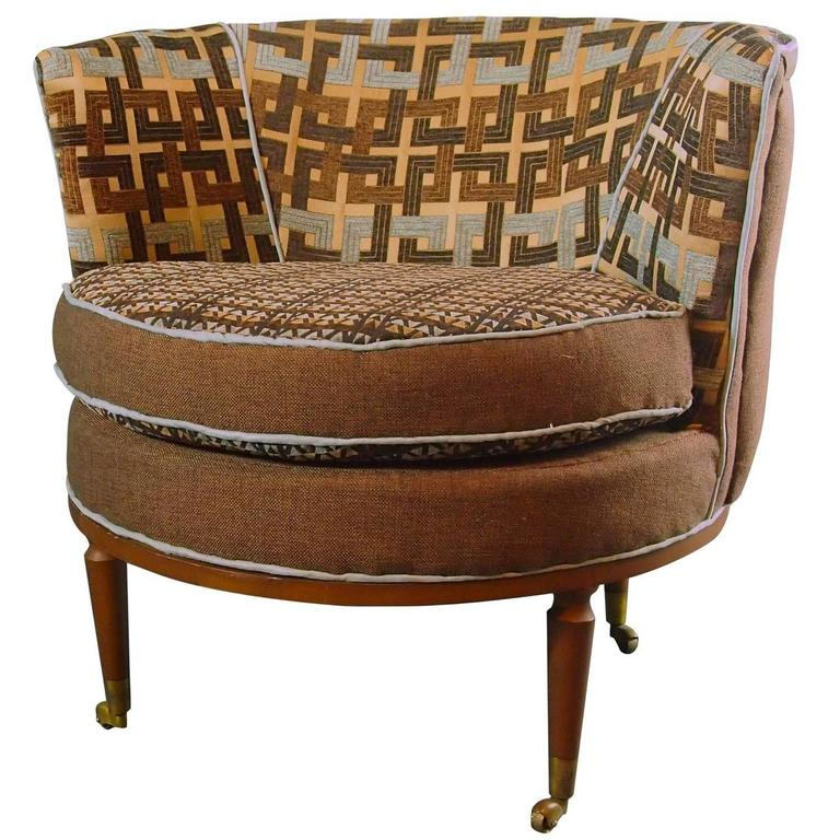 Pair Of Mid Century Barrel Chairs In Brown And Blue  In Stock