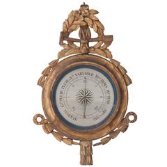 French 19th Century Gold Gilt Barometer