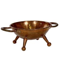 Rivetted Copper Arts and Crafts Twin-Handled Bowl