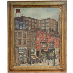 1930s American School Street Scene Painting