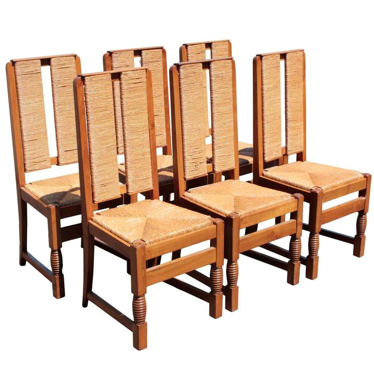 French Basque 1940's Set of Six Side Chairs by Victor Courtray