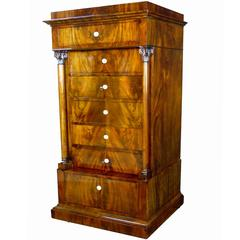 19th Century Danish Tall Commode with Secretaire Drawer