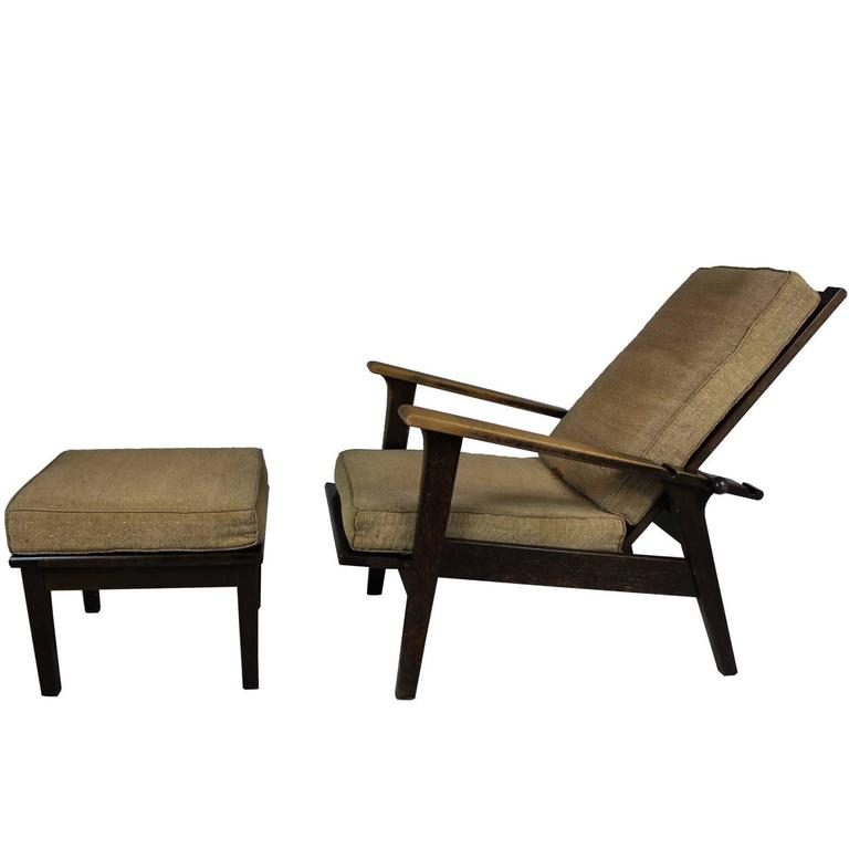 Exceptionnel Reclining Armchair With Footstool Designed By Antonin Heythum, 1928 For Sale