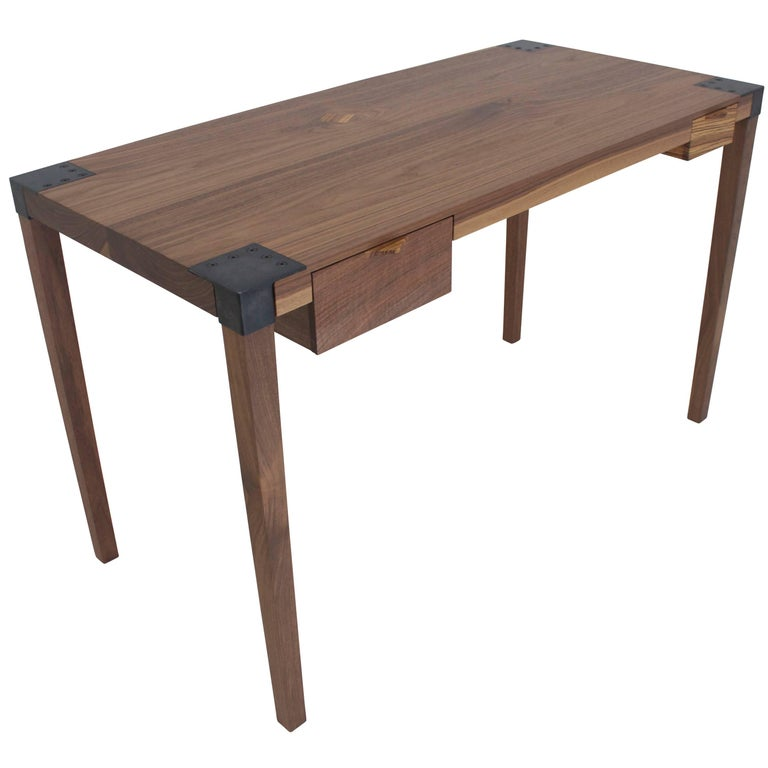 Solid Wood Writer's Desk in Walnut with Steel Joinery and Removable Legs For Sale