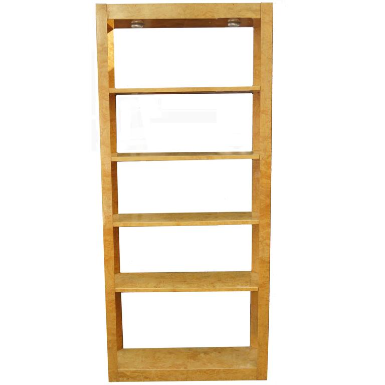 Burl Wood Étagère Shelving Unit Lighted Bookcase Manner of Milo Baughman For Sale