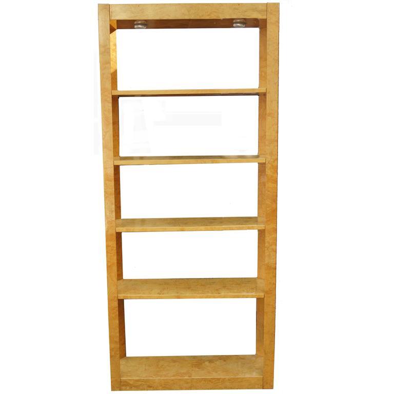 Burl Wood Étagère Shelving Unit Lighted Bookcase Manner of Milo Baughman