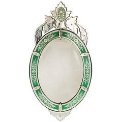 1940s Emerald Green Etched Glass Venetian Mirror