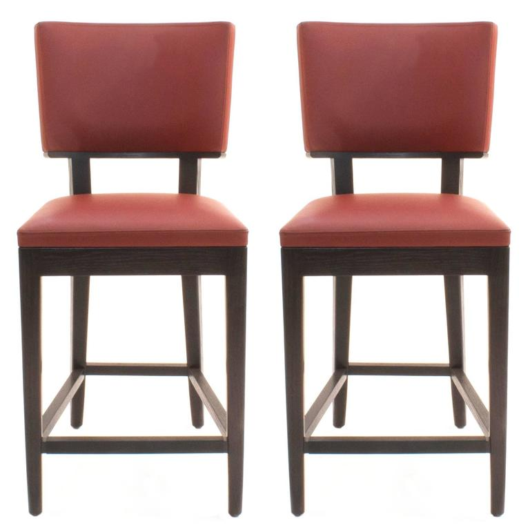 Red Leather Harry S Counter Stools By Christian Liaigre