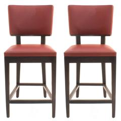 Pair of Red Leather Harry's Counter Stools by Christian Liaigre, France