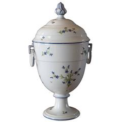 "Unique Niderviller Porcelain Vase with ""Fleurs Barbeaux,"" France, 1790"