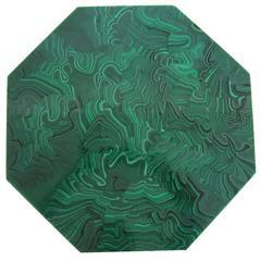 Vintage Modern Green Malachite Style Lazy-Susan, 1980s