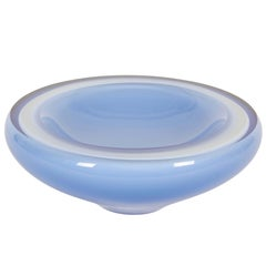 Art Glass Cased White and Blue Bowl