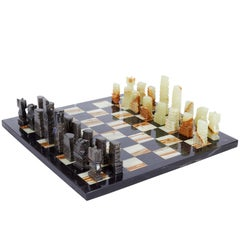 Mid-Century Onyx and Marble Chess Set