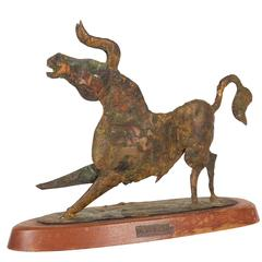 Bill Lett Brutalist Style Bull in Patinated Bronze