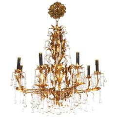 Gilt Tole Eight-Light Chandelier with Crystal Drops