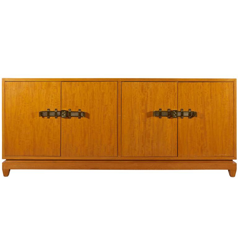 Tommi Parzinger Bleached Mahogany Sideboard For Sale