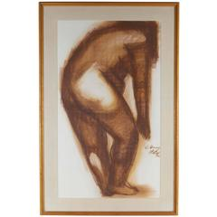 Chong Neto, Nude Study, Gouache and Charcoal on Paper, Signed