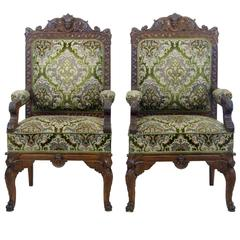 Pair of 19th Century Carved Oak Armchairs