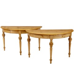 Pair of 19th Century Pine Demilune Occasional Tables