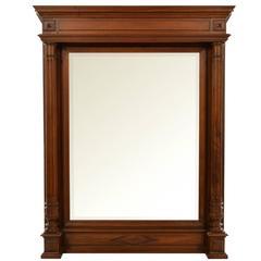 19th Century French Wall Mirror with Walnut Frame