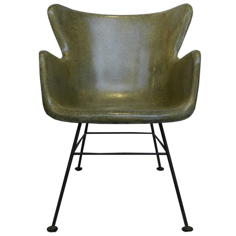 Wingback Fiberglass Chair By Lawrence Peabody For Selig At