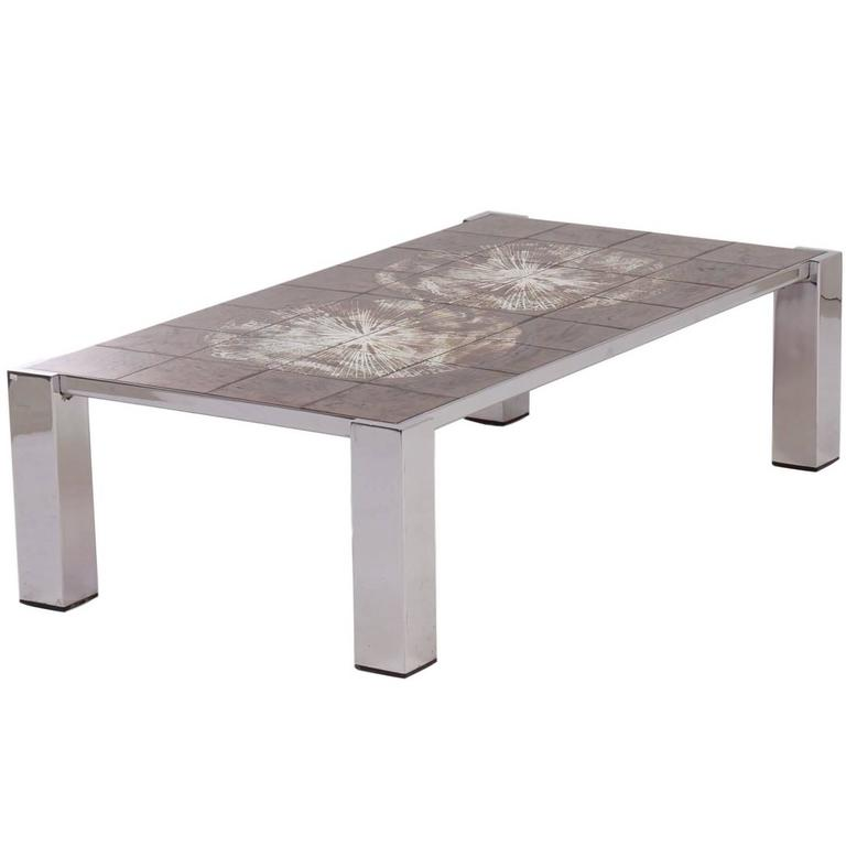 Hand Painted Tile Coffee Table By Belarti 1960s At 1stdibs
